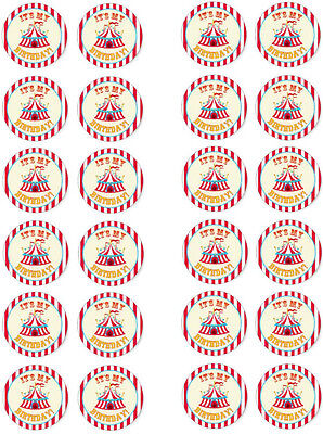 Circus Its My Party Edible Cupcake Fairy Cake Wafer Paper Toppers x 24