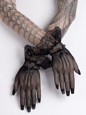 Short Black Mesh Gloves Fishnet Lace Bows Gothic Wedding Victorian Lolita