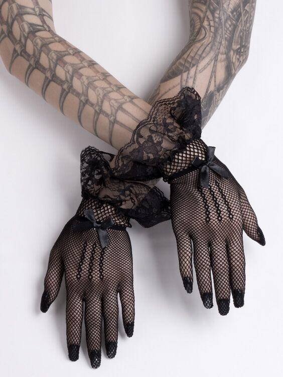 Short Black Mesh Gloves Fishnet Lace Bows Gothic Wedding