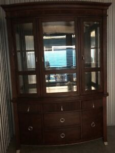 Rosewood and cherry buffet hutch