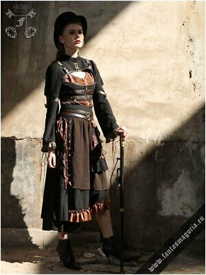 Steampunk Carroll - black-brown skirt by Red Queen`s Black Legion Size L (8-10)