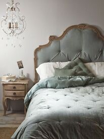 Shabby Chic Victorian-seque Linen and Wood Headboard