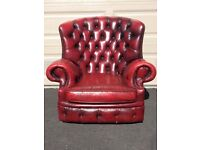 Ox red leather monk Chesterfield and chair