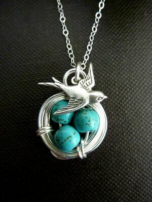 Animal Bird 925 Silver Turquoise Pendant Necklace Jewelry Men Chain Easter Eggs - Easter Jewelry