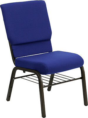 Lot Of 50 18.5 Wide Navy Blue Fabric Church Chair With Book Rack