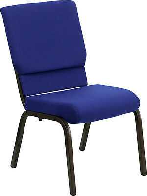 Lot Of 100 18.5 Wide Navy Blue Fabric Stacking Church Chair - Gold Vein Frame