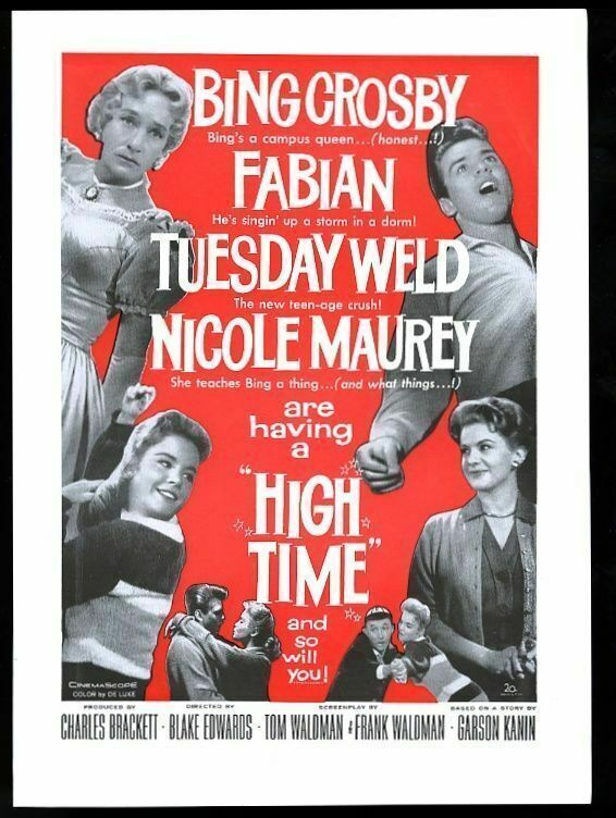 1960 Tuesday Weld Fabian photo High Time movie release trade ad