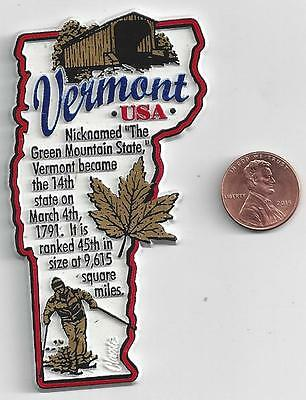 VERMONT  MAP  INFORMATION MAGNET     EDUCATIONAL  5-COLOR