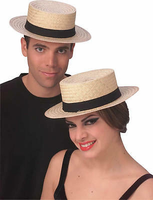 STRAW SKIMMER SAILOR OLD TIME BOATER GATSBY COSTUME HAT 1920'S AMISH CAPTAINS  - Old Time Costumes