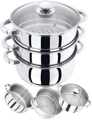 NEW 3 TIER 22CM INDUCTION HOB STAINLESS STEEL STEAMER POT PAN SET WITH GLASS LID