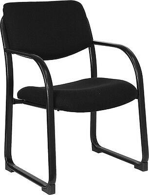 Heavy Duty Black Fabric Reception Office Side Chair - Reception Guest Side Chair