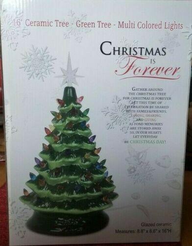 "HALLMARK CHRISTMAS IS FOREVER 16"" CERAMIC TREE-GREEN TREE-MULTI COLORED LIGHTS"