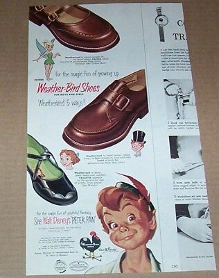 1953 print ad - Peter Pan Tinker Bell for Weather-Bird kids shoes Advertising - Tinkerbell Shoes For Kids