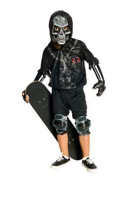 Halloween Kinder Kostüm Skelett Skater in schwarz