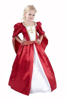 Edles mittelalterliches Königinnen-Kostüm für Mädchen rot-weiss-goldfarben Cod.1 (Cod Kostüm)