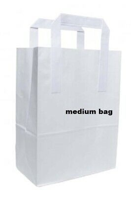 10 Medium SOS Brown Kraft Paper Carrier Bags with Flat Handles
