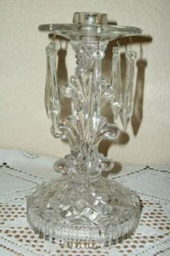 ANTIQUE GLASS CANDLE HOLDER PRISMS 1920