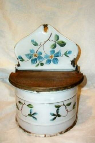 ANTIQUE FRENCH ENAMELWARE HP FLOWERS SALT BOX FARMHOUSE WOOD LID RARE DESIGN