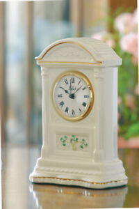 "Belleek Shamrock Glenveigh Mantel Clock Standing 7 ¾ "" tall"