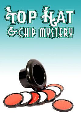 TOP HAT & CHIP MYSTERY Poker Magic Trick Pocket Close Up Disc Set Mini - Magic Top Hat