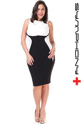 PLUS SIZE BLACK-WHITE COLOR-BLOCK HOURGLASS BODYCON PENCIL DRESS NEW 1X 2X - Dress Color Block