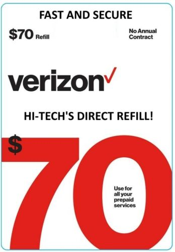 $70 VERIZON PREPAID > FASTEST < ONLINE REFILL > DIRECT TO YOUR ACCOUNT