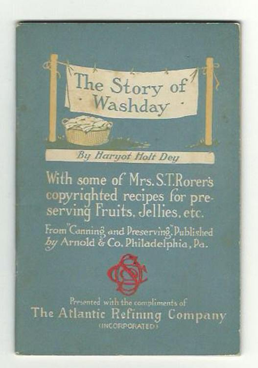 1900s Canning Jelly Cookbook STORY OF WASHDAY Rorer Parowax Atlantic Refining Co