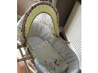 Mamas And Papas Nellie And Splash Moses Basket With White Rocking Stand. Cot Bumper To Match