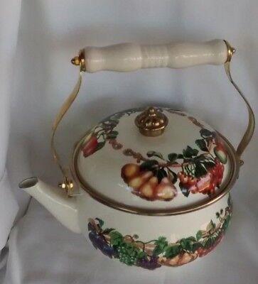 Enamelware Tea Kettle - TABLETOPS UNLIMITED VITROCERAMIC KENSINGTON ENAMELWARE TEA KETTLE