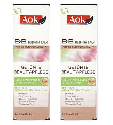 (100ml=8,90€) 2x Aok 5in1 B.B Blemish Balm Mittel Getönte Beauty-Pflege, 2x50ml