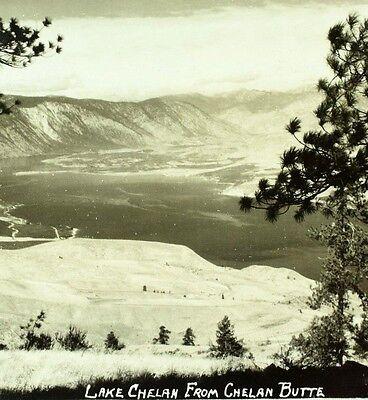 Vintage RPPC Lake Chelan From Chelan Butte, Washington Real Photo Postcard P34