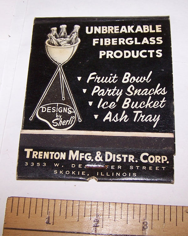 Vintage GIANT FEATURE MATCHBOOK Trenton Mfg SKOKIE ILLINOIS Designs by Sherli