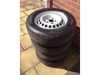 "Vw T5 transporter 16"" steel wheels with hankook tyres 215/65/r16c NEW!"