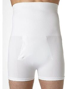 MENS BODYSCULPT HIGH WAIST TRUNKS SHAPE ENHANCER LUMBAR SUPPORT PANTS WHITE M/L