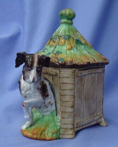 """1890s CAVALIER KING CHARLES spaniel SALUKI in dog house tobacco jar 8"""""""