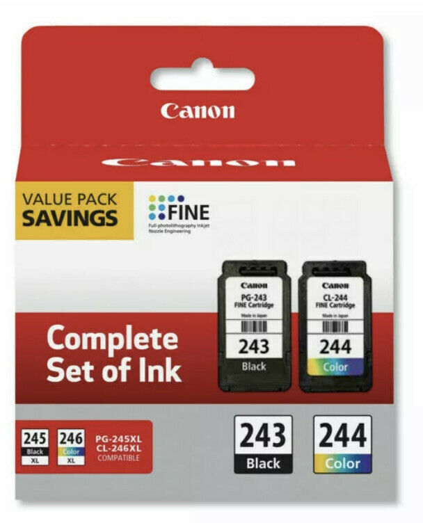 Genuine Canon PG-243 Black and CL-244 Color Ink Cartridge.
