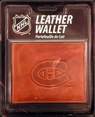 Montreal Canadiens NHL Embossed Leather Billfold Wallet Montreal Canadiens Leather