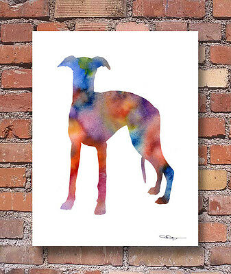 WHIPPET Art Print - Contemporary Watercolor - Abstract - Wall Decor