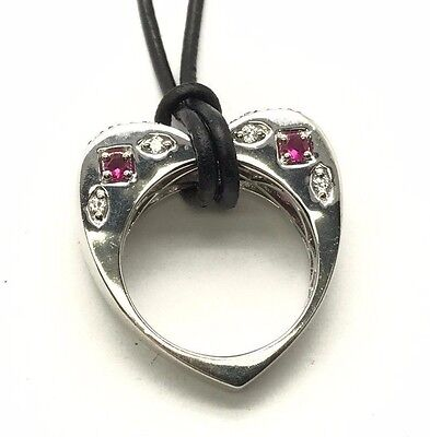 Sterling Silver 925 Black Leather Edgy Heart Frame CZ Pink Sapphire Necklace