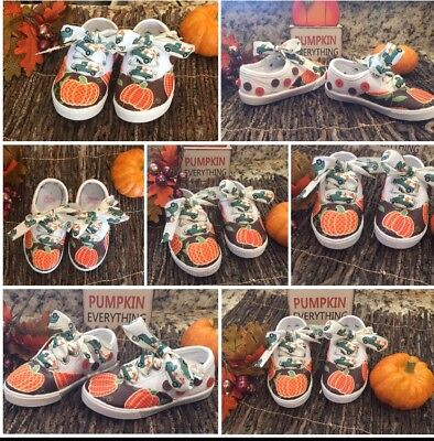 Toddler Halloween Customes (Toddler Girl's Shoes Size 7 Custom Made Fall Halloween Thanksgiving)