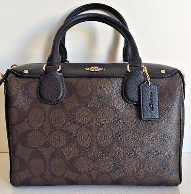 NWT Coach 58312 mini Bennett Satchel Handbag Signature Brown / Black