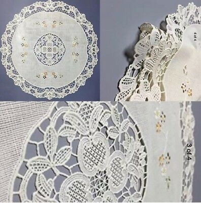 Oval Placemat Gifts - Vinyl Lace Placemats 4 Plastic Beige  Floral Round Set Christmas Gift