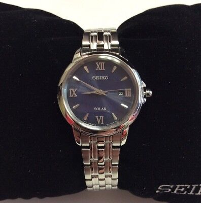 SEIKO CORE Series Women's Stainless Steel Blue Dial Solar Powered WATCH SUT347