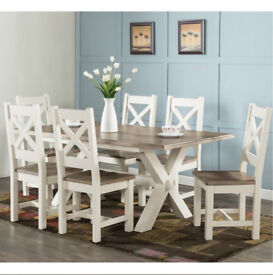 Brand New!!! Rustic Westport Cross Leg Dining Set with 6 Chairs