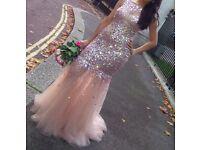 Pink Crystal Beaded Mermaid Prom Dress