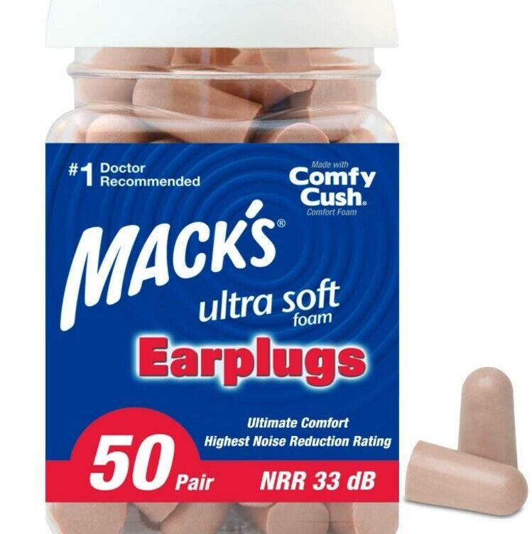 Comfortable Earplugs 50 Pair, 33dB Highest NRR, Ultra Soft Foam