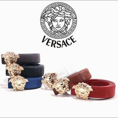 Mens leather Versace belts gold logo