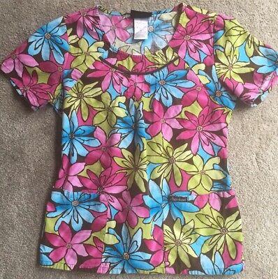 Cherokee Floral Uniform (Cherokee Scrubs Top Small S Floral Nurse Medical Uniform Shirt Colorful)