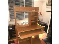 Large Pine PC Desk / Workstation