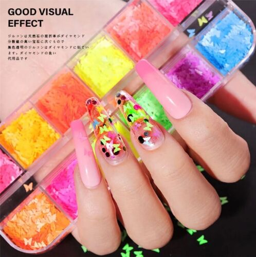 Butterfly Shapes Nail Art Glitter Flakers 3D Colorful 12Colors/Set